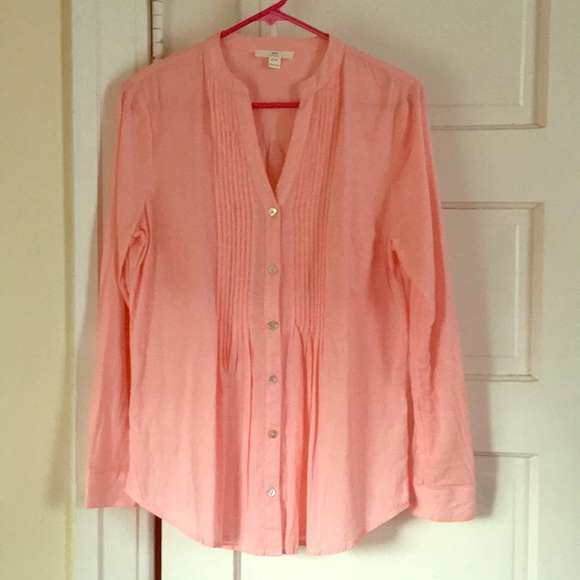 BLL New York Tops - 100% Cotton V-Neck Tunic Button-Up